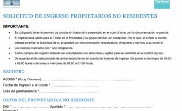 FORMULARIO DE ACCESO PARA PROPIETARIOS NO RESIDENTES